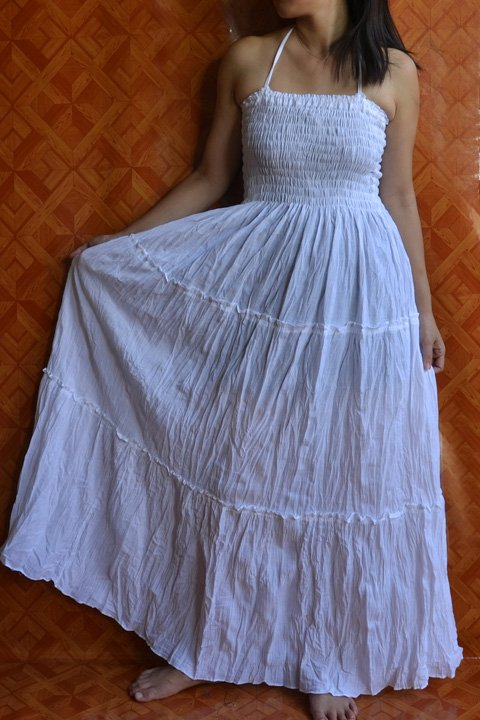 6006 Boho White Solid cotton Halter Smock Maxi Sundress