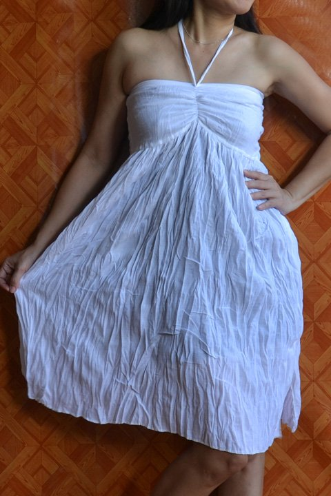7012 Boho White Halter Summer Beach Sundress Top