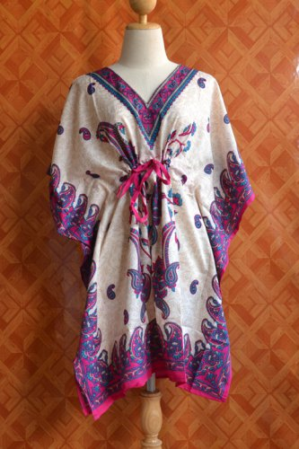 1080 Vintage Kaftan Caftan Tunic Kimono V-Neck Top Blouse Dress M L XL