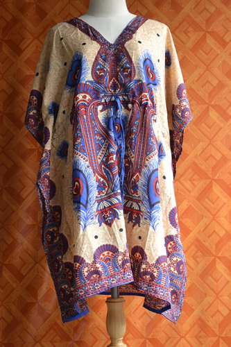 1096 Vintage Kaftan Caftan Tunic Kimono V-Neck Top Blouse Dress M L XL