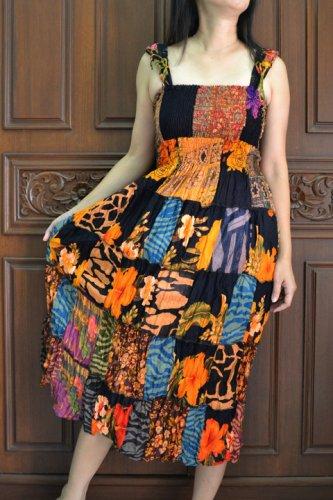 TD001 Boho Tie dye Crinkle Multi-color Floral Print Smock Sun dress XS S M L