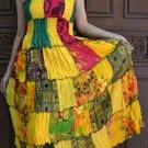 TD009 Boho Tie dye Crinkle Multi-color Floral Print Smock Sun dress XS S M L