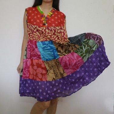 PW02 Multi-colors Patchwork Dress Top Tunic S M L