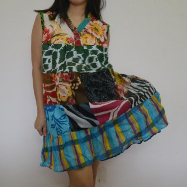 PW05 Multi-colors Patchwork Dress Top Tunic S M L