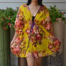 304 Boho Floral Caftan Kaftan Kimono Tunic Cover-ups Dress Top Blouse