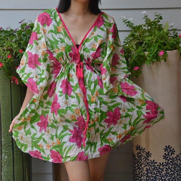 311 Boho Floral Caftan Kaftan Kimono Tunic Cover-ups Dress Top Blouse