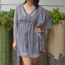 3027 Grey Chiffon Caftan Kaftan Kimono Tunic Cover-ups Top XL