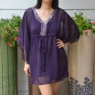 3028 Dark Purple Chiffon Caftan Kaftan Kimono Tunic Cover-ups Top XL