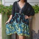 3024 Floral Chiffon Caftan Kaftan Kimono Tunic Cover-ups Top XL