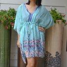 3031 Floral Chiffon Caftan Kaftan Kimono Tunic Cover-ups Top XL