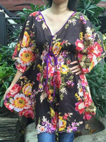 NOK01 Boho Floral Caftan Kaftan Kimono Tunic Cover-ups Dress Top Blouse