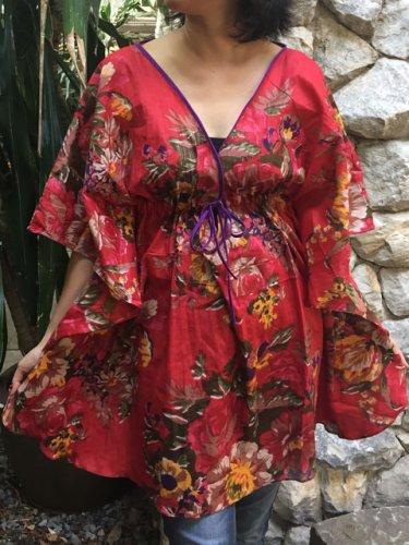 NOK02 Boho Floral Caftan Kaftan Kimono Tunic Cover-ups Dress Top Blouse