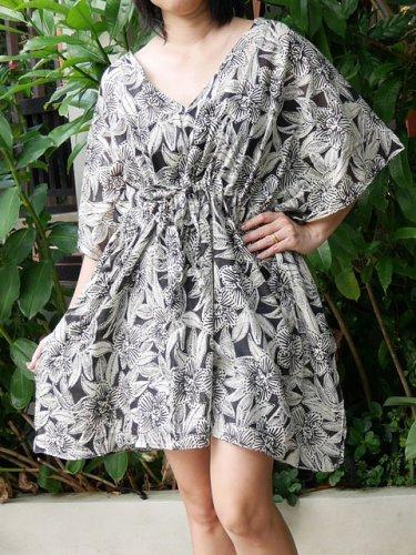 V01 Cotton Floral Caftan Kaftan Kimono Tunic Cover-ups Dress Top Blouse M L XL