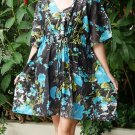 V03 Cotton Floral Caftan Kaftan Kimono Tunic Cover-ups Dress Top Blouse M L XL