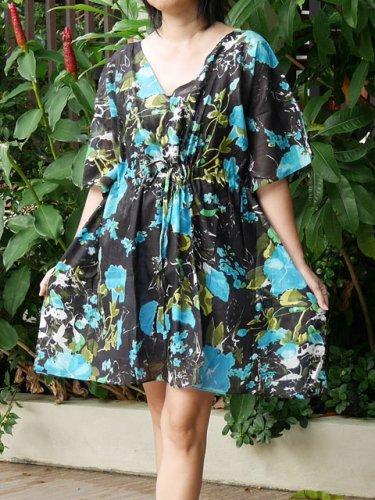 V03 Cotton Floral Caftan Kaftan Kimono Tunic Cover-ups Dress Top Blouse M L XL