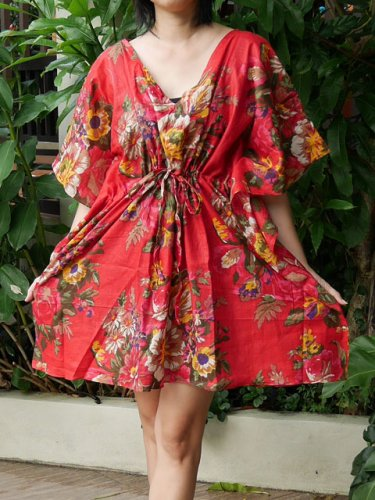 V06 Cotton Floral Caftan Kaftan Kimono Tunic Cover-ups Dress Top Blouse M L XL