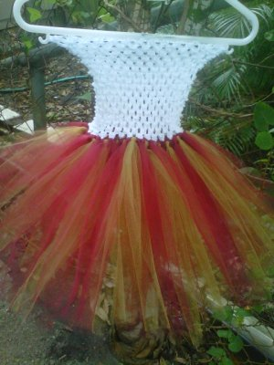 HANDMADE RED / OLD GOLD TUTU DRESS   SIZE  0  MONTHS TO 6X GIRL