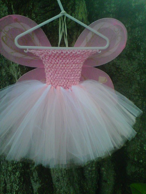 HANDMADE PINK /WHITE TUTU DRESS W/ WINGS  SIZE 6MONTHS TO T0 6X GIRL