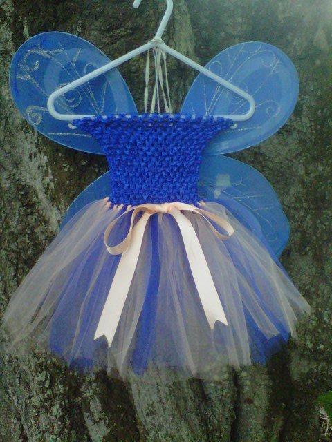HANDMADE ROYAL BLUE / PEACH TUTU DRESS W/WINGS
