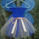 HANDMADE ROYAL BLUE / PEACH TUTU DRESS W/WINGS