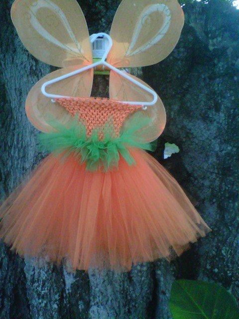 HANDMADE  PUMPKIN  COLOR TUTU DRESS  W/WINGS