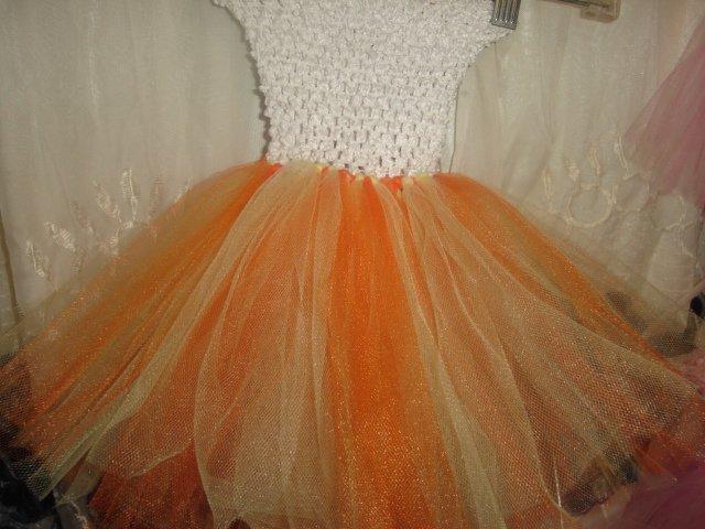 HANDMADE candy corn colors orange maize white  TUTU DRESS