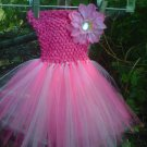 HANDMADE FUSCHIA / LT PINK / WHITE TUTU DRESS W/ FLOWER