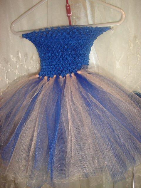 HANDMADE ROYAL BLU/ PEACH TUTU DRESS