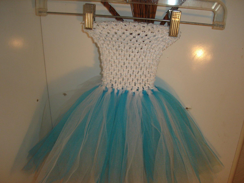 HANDMADE   WHITE/TURQUOISE TUTU DRESS