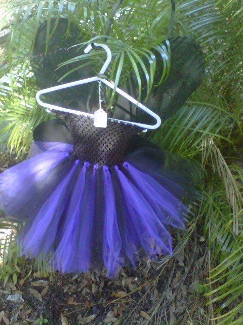 HANDMADE PURPLE/ BLACK TUTU DRESS W/  BLACK WINGS