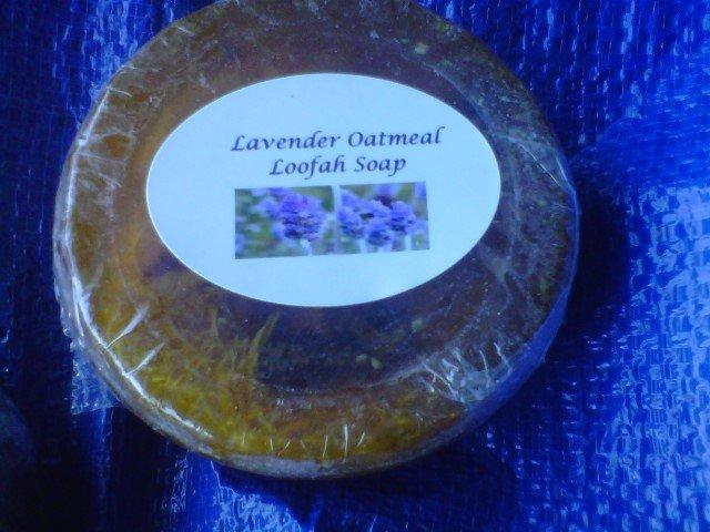 HANDMADE LAVENDER  OATMEAL LOOFAH SOAP