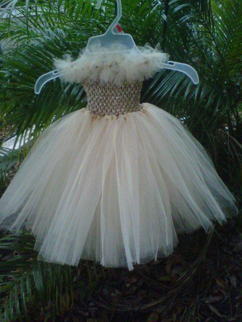 *ARTISAN HANDMADE CREAM TUTU DRESS    SIZE 2T - 6X   GIRL   3 FOR $52.15