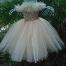 *ARTISAN HANDMADE CREAM TUTU DRESS    SIZE 2T - 6X   GIRL   3 FOR $52.15