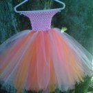 HANDMADE LIL DIVA TWIRLING IN CORAL/ORANGE/ LT PINK TUTU DRESS
