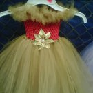 HANDMADE LIL DIVA RED/ GOLD/  GOLD SHIMMER TUTU DRESS