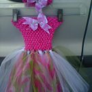 CUSTOM CAMFLOUGE PINK TUTU DRESS WITH RHINESTONE AND HEADWRAP W/ BOW