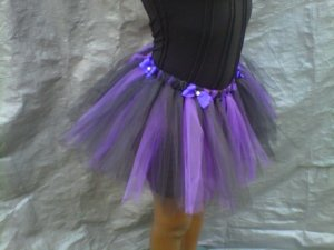 CUSTOM PURPLE / BLACK W/PURPLE BOWS TUTU SKIRT FOR A 15 YEAR GIRL  3 for  $52.15