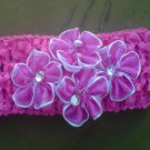 custom made headwraps in fuschia  w/ fuschia  flowers