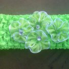custom made headwraps in lime green w/ lime green  flowers