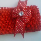 custom made headwraps in red w/  red/white polka dot bow w/rhinestone