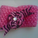 custom made headwraps in pink w/ pink/black stripes bow w/rhinestone