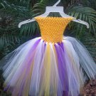 CUSTOM  made TUTU DRESS FOR YOUR DIVA golden yellow/purple white EASTER SPECIAL  $20.75