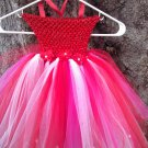 CUSTOM MADE RED/WHITE/PINK W/ FLOWERS   TUTU DRESS 3 FOR $62.15