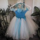 CUSTOM MADE TURQUOISE LTPINK SHIMMER WHITE TUTU DRESS