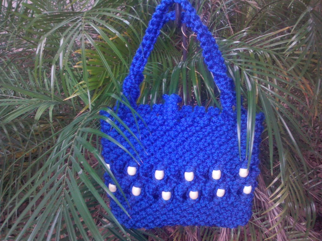 HANDMADE MACRAME PURSE WITH BEADS  ROYAL BLUE