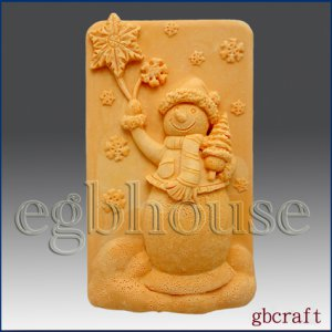 2D Silicone Soap Mold - Frosty with Snowflakes