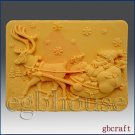 2D Soap Silicone Mold  Santa with Sleigh