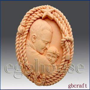2D Silicone Soap Mold � Dad and Child in Rope Frame