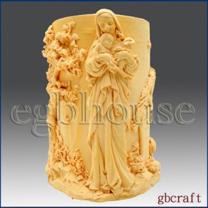 3D Silicone Cylinder Candle Mold - Madonna in Garden