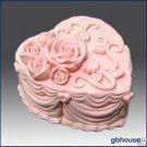 Silicone Soap/Candle Mold-Heart Shape Rose Wedding Cake
